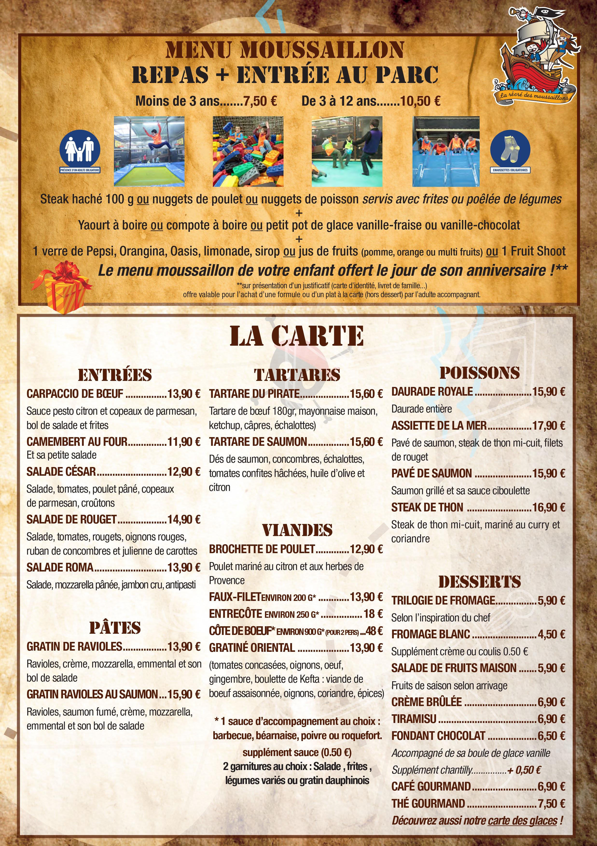 Carte Restaurant Le Samedi