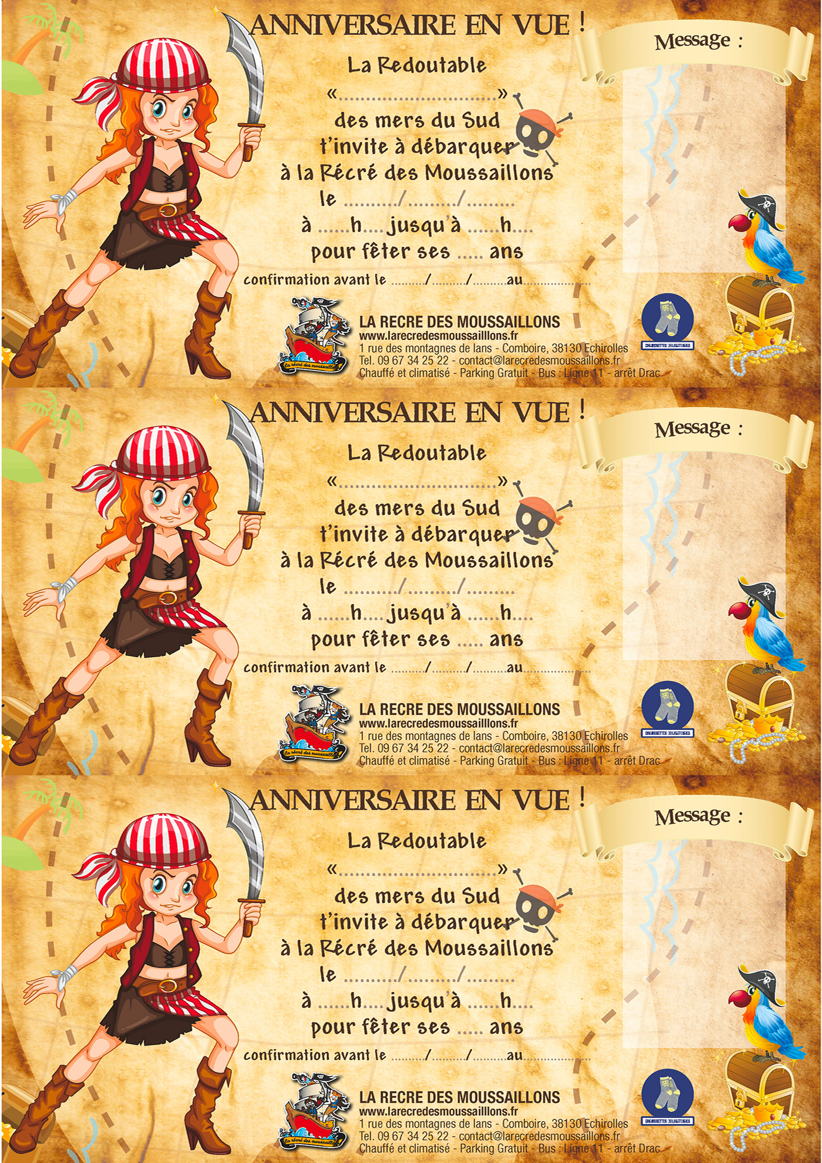 cartons d invitations anniversaires la table des pirates. Black Bedroom Furniture Sets. Home Design Ideas